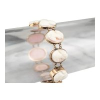 Graduating Pink Shell Cameo Link Bracelet