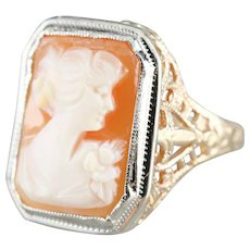 Vintage Cameo Two Tone Filigree Ring