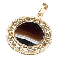 Mid Century Banded Agate Pendant
