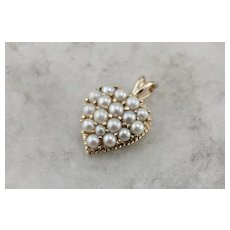 Vintage Heart Shaped Cultured Pearl Inlay Pendant