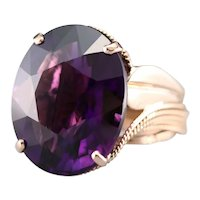 Bold Mid Century Amethyst Cocktail Ring