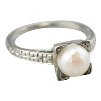Art Deco Cultured Pearl Solitaire Ring