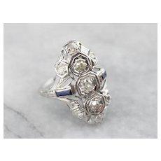 Pretty Art Deco Old Mine Cut Diamond Dinner Ring