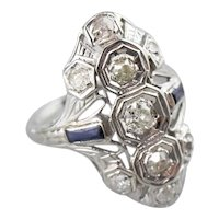 Pretty Art Deco Old Mine Cut Diamond Dinner Ring