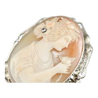 Art Deco Girl with Diamond Rose Cameo Brooch or Pendant