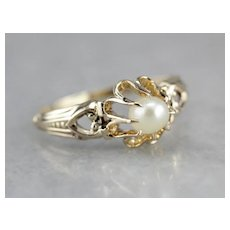 Vintage Cultured Pearl Solitaire Ring