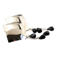 Modernist 14 Karat Gold Beaded Black Onyx Drop Earring