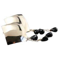 Modernist 14 Karat Gold Beaded Black Onyx Drop Earring