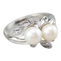 Retro Era Cultured Pearl and Diamond Ring