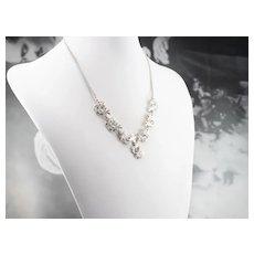 Floral Vintage Marcasite Necklace
