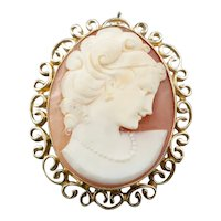 Scrolling Pretty Mid Century Cameo Pin or Pedant