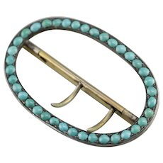 Antique Turquoise Belt Buckle