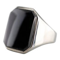 Late Deco Black Onyx Statement Ring