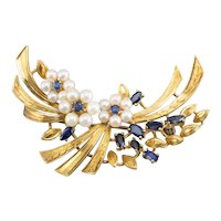 Vintage Floral Marquise Sapphire and Cultured Pearl Brooch