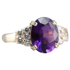 Upcycled Fine Amethyst Diamond Ring