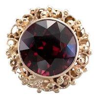 Ornate Mid Century Rhodolite Garnet Ring