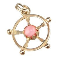 Nautical Captain's Wheel Charm with Glass Accent