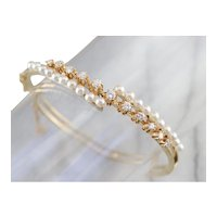 Buttercup Diamond and Cultured Pearl Bangle Bracelet