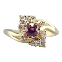 Pink Sapphire and Diamond Bypass Ring