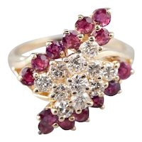 Sparkling Vintage Diamond and Ruby Cluster Ring