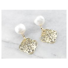 Cultured Pearl Ornate Filigree Drop Earrings