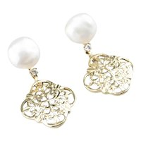 Cultured Pearl Ornate Filigree Drop Earrings