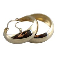 Large 14 Karat Gold Hoop Earrings