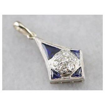 Upcycled Diamond Cluster and Sapphire Pendant
