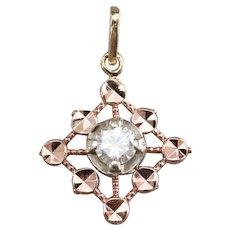 Pretty Upcycled Mixed Metal Diamond Pendant