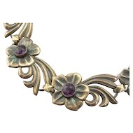 Retro Era Flower Link Bracelet with Purple Rhinestone Centers