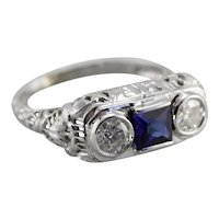 Upcycled Diamond and Sapphire Three Stone FiIligree Ring
