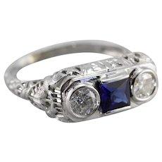 Upcycled Diamond and Sapphire Three Stone FiIligree Ring