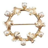 Vintage Wreath Circle Brooch