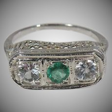 18K White Gold Art Deco Emerald & White Sapphire Ring Circa 1920's