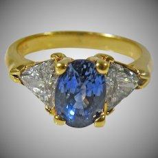 Custom,  Vintage, 18 K Yellow Gold Oval Blue Sapphire & Trillion Diamond Ring
