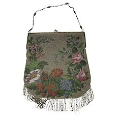 Antique  Victorian Glass Beaded Handbag With Green Glass cabochon closures