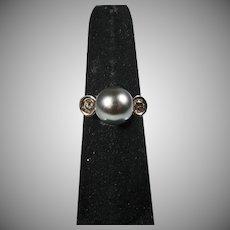 18K White Gold 10MM. Tahitian gray Pearl & Diamond Ring
