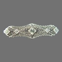 Art Deco 14 K White Gold  Filigree & Diamond brooch Approx. 1.00cttw