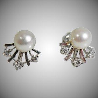 14K White gold 7 mm. Pearl & Diamond earrings