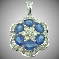18 Karat White Gold Sapphire and Diamond Pendant