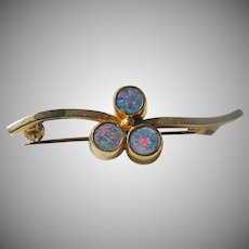 14K Yellow Gold Vintage Round Opal Brooch/Pin  1930's