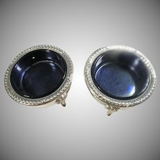Vintage Coin Silver Compote Cups with Cobalt glass Inserts.
