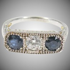 18 K White Gold Art Deco Diamond & Sapphire Ring Circa 1920's, 30's.