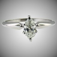 14k White Gold Marques Solitaire Diamond Ring