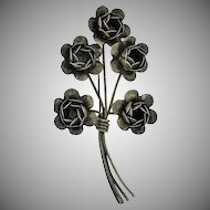 Sterling silver rose brooch Vintage 1940'2 signed Coro-craft