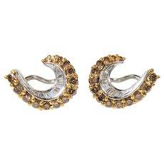18 K White Gold Yellow and White diamond Earrings