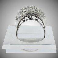 Platinum Round Diamond  dome ring Vintage