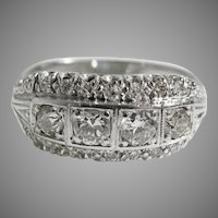 18K WHITE GOLD Art Deco 1920/30's Diamond Band