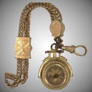 Rose Gold Filled and Onyx backed Compass Fob, Circa Victorian Era
