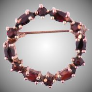 14K  Rose Gold Vintage  Garnet Brooch
